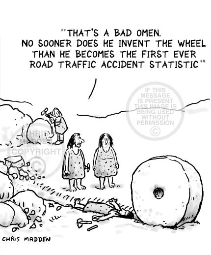Cartoon. The invention of the wheel - the first road traffic accident