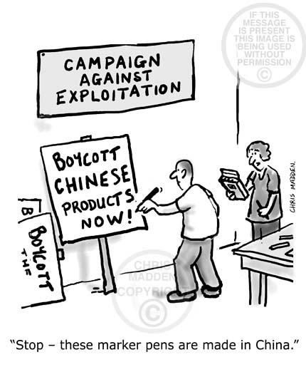 Boycott China cartoon