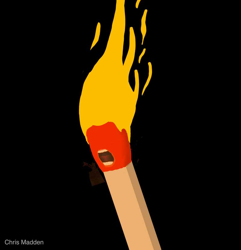 trump caricature as match with hair as flames