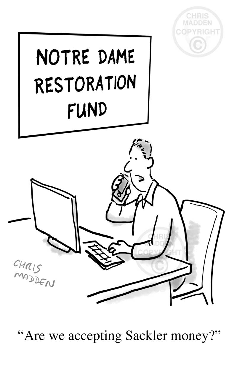 Notre Dame fire restoration fund cartoon