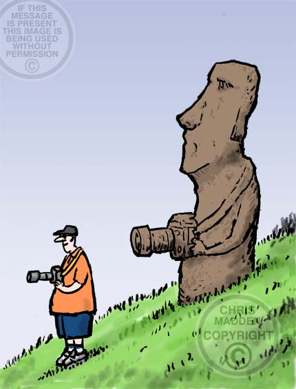 Easter Island statue cartoon - tourist with camera