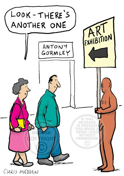 Cartoon showing visitors to an Antony Gormley exhibition. A Gormley sculpture is holding a placard directing people to the exhibition