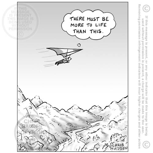 hang glider- must be more to life than this - cartoon