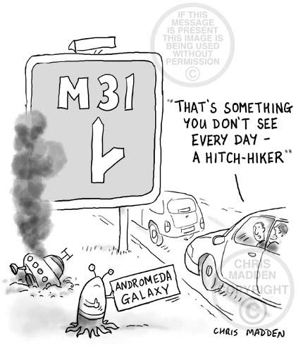 hitch hiking cartoon - alien heading for M31