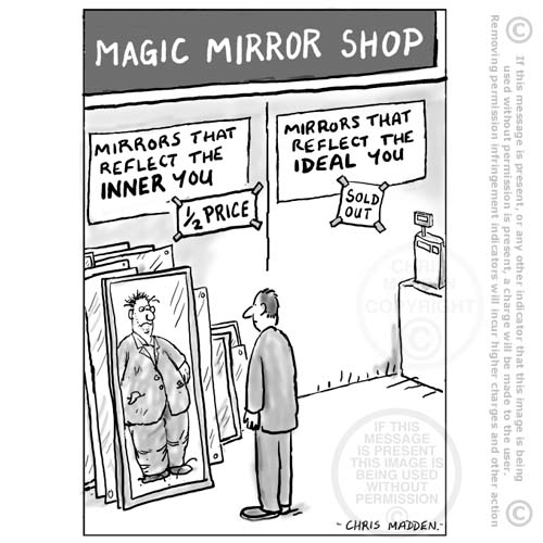 Cartoon - mirror that reflects the true you