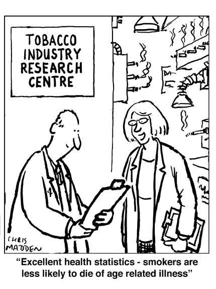 Smoking health cartoon. Misleading statistics for smoking-related illness