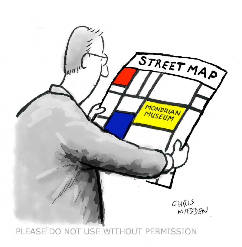 Cartoon - Mondrian art as street map to Mondrian museum