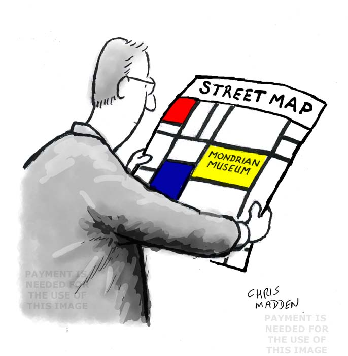 Cartoon - Mondrian art as street map to Mondrian museum