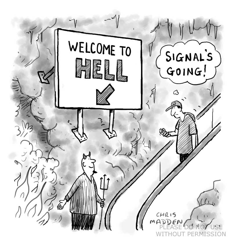 Cartoon - Mobile phone signal - welcome to Hell
