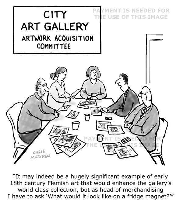 museum merchandising cartoon - fridge magnets of artworks