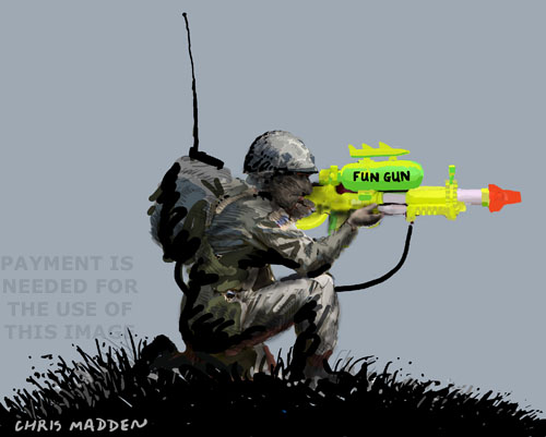 soldier with water pistol illustration