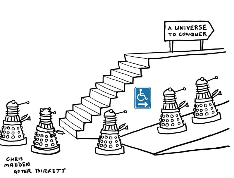 dalek cartoon - stairs and disabled access