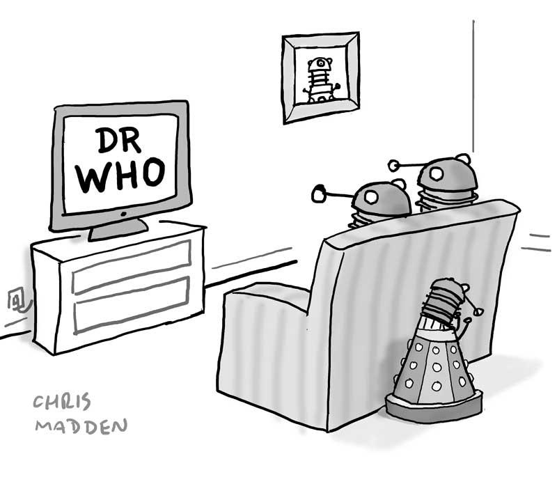 daleks watching dr who cartoon