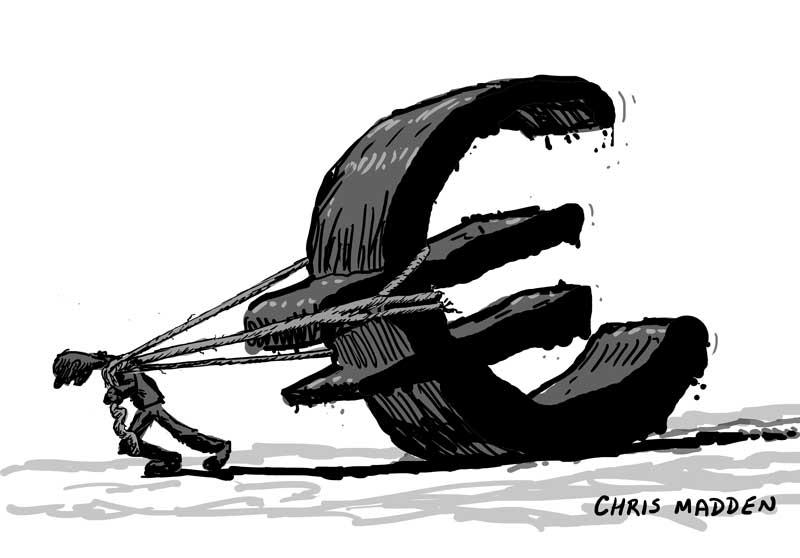 euro crisis cartoon - pulling euro sign