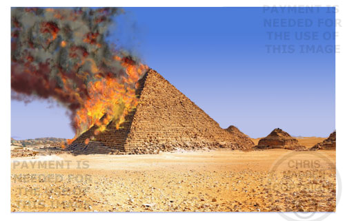 Egypt - pyramid burning