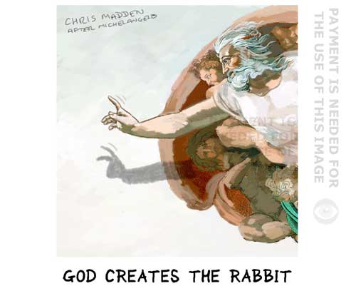 Michelangelo - God creates the rabbit (pastiche)