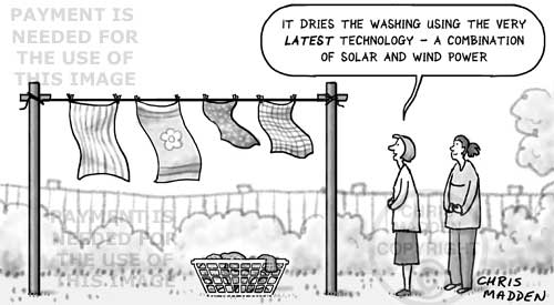 Environmental clothes drier cartoon