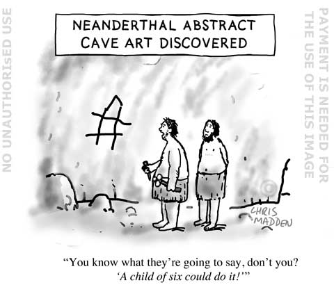 Neanderthal abstract cave art cartoon