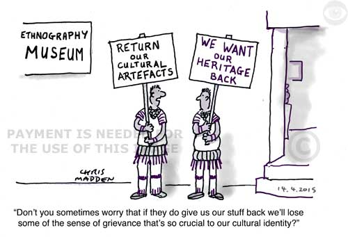 Museum repatriate artefacts cartoon