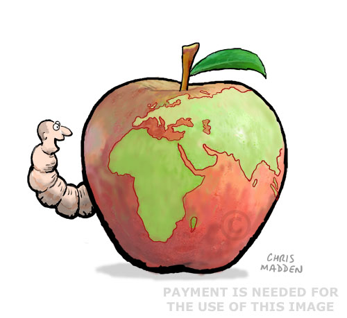 human eating world - worm eating apple cartoon