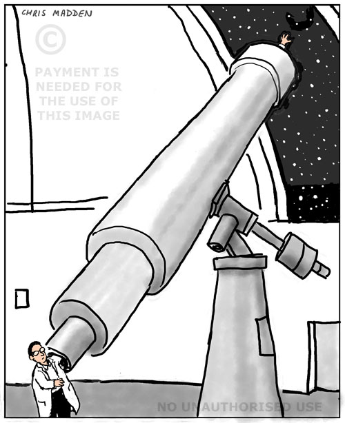 cartoon - studying the stars with a telescope