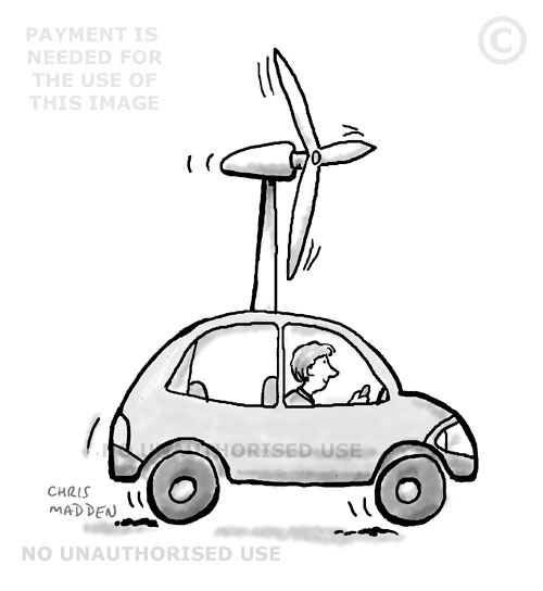 Cartoon - a wind powered car