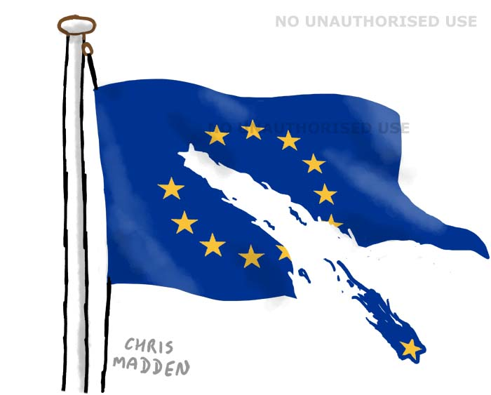 Brexit cartoon - EU flag torn apart