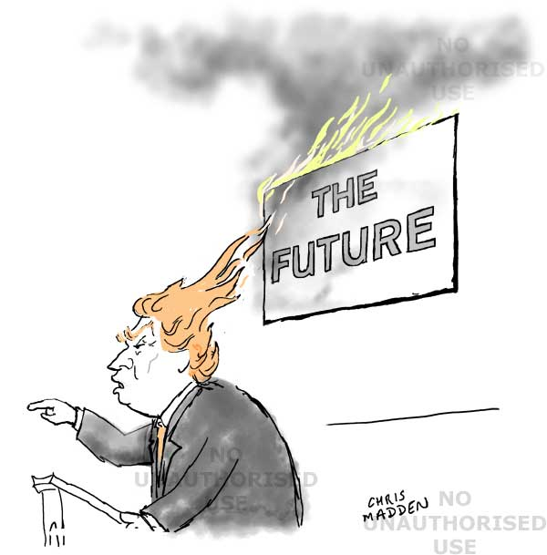 Donald Trump's hair as flames setting fire to the future