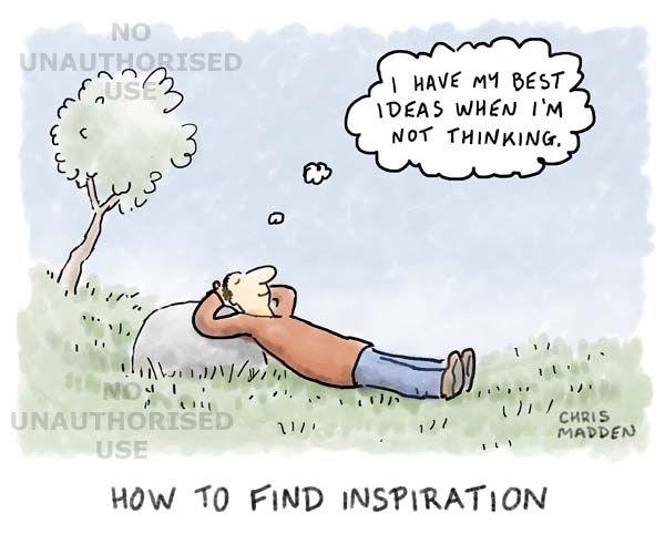 Cartoon - Person having good ideas while deliberately not thinking