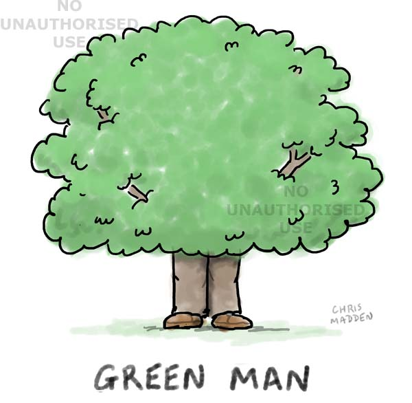 Cartoon - the green man (as a tree)