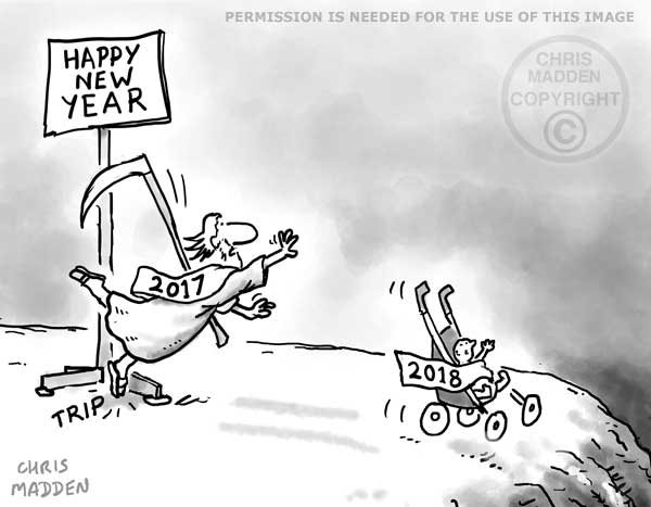 New Year 2018 cartoon - the Old Year and the New Year