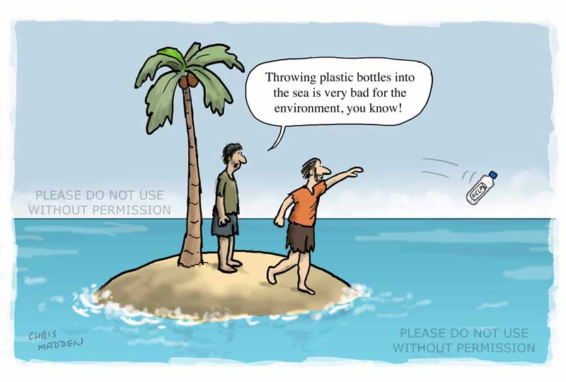plastic pollution desert island cartoon
