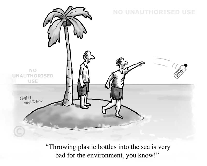 plastic and consumer waste pollution cartoon