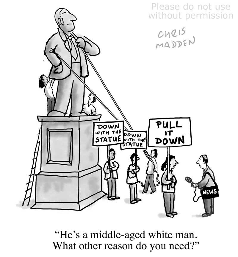 Remove statues campaign cartoon