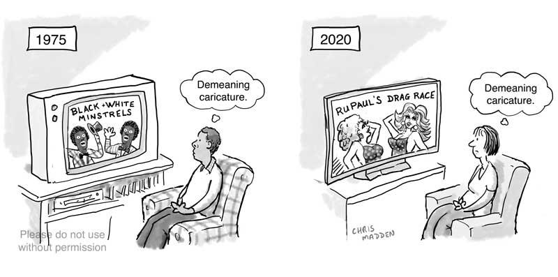 Racist & sexist demeaning caricatures cartoon