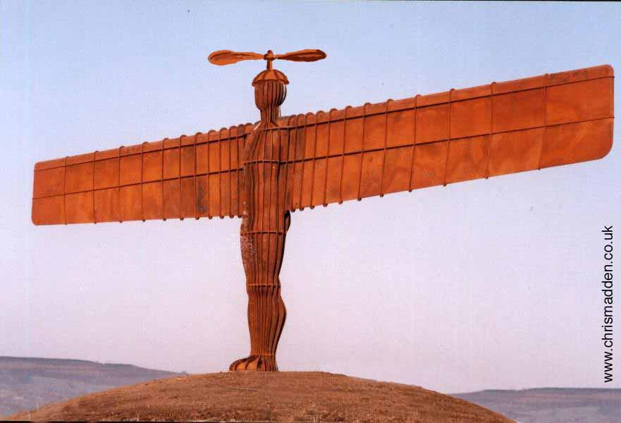 Antony Gormley: Angel of the North propellorhead - cartoon