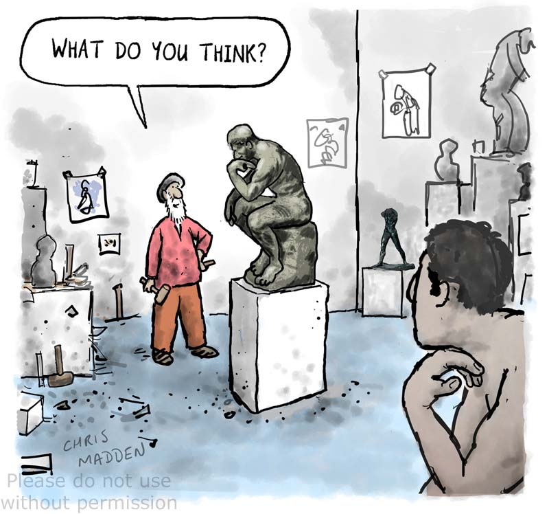 Rodin Thinker cartoon