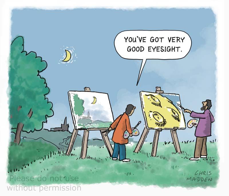Artist painting the moon cartoon