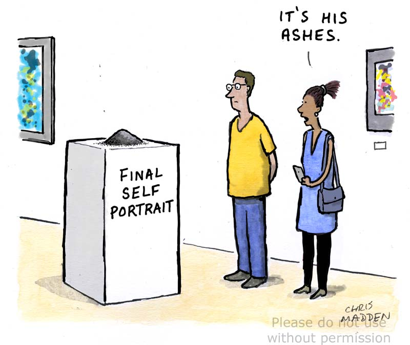 Artist's self-portrait cartoon
