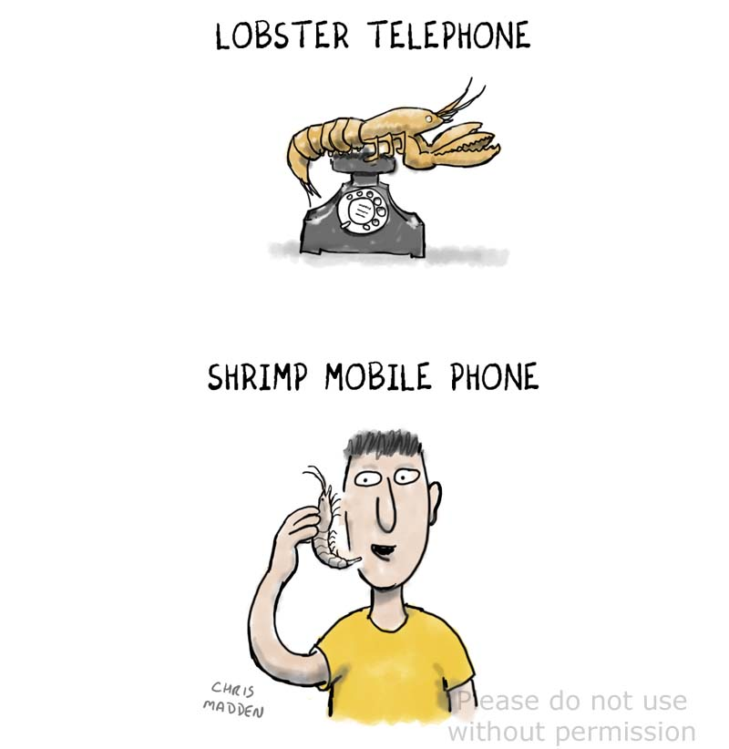 Salvador Dali surreal lobster telephone cartoon