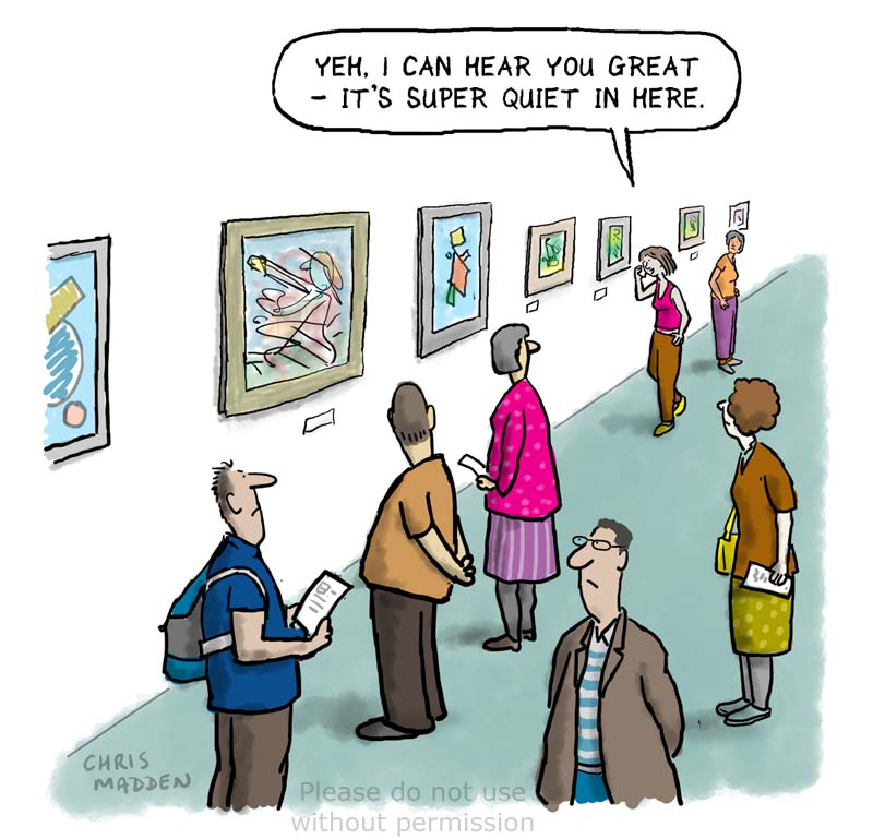 The etiquette of using a cell phone in an art gallery cartoon