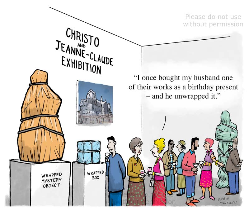 Christo artist cartoon