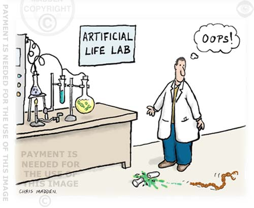 science cartoon - artificial life dna cartoon