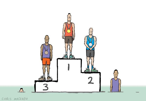 Sport winners cartoon. Winners podium at a sports event. Competitors in the fourth and fifth positions are sinking into the ground