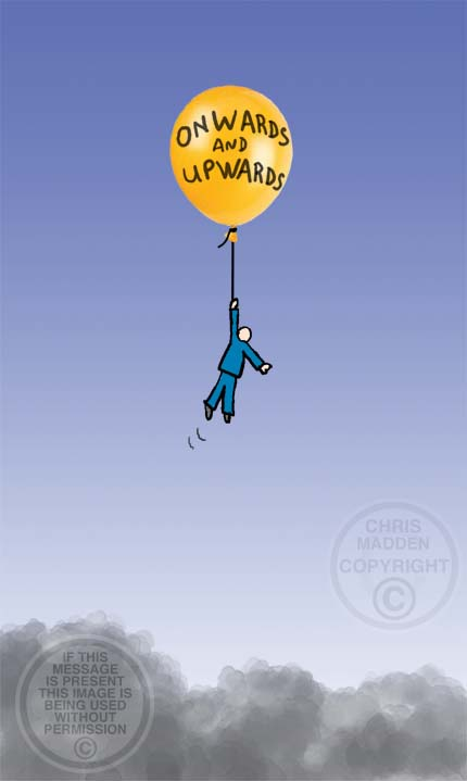 Illustration. Balloon rising dangerously as symbol of overachievement