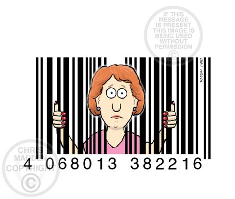 Illustration. A bar code as a symbol of consumerism