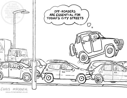 Transport cartoon - urban congestion cartoon