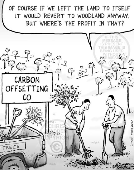 Environment cartoon. Planting trees to offset carbon use