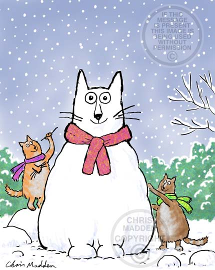 Christmas illustration. A group of cats building a cat shaped snowman