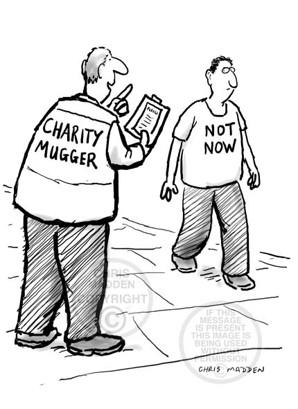 Cartoon. Charity mugger or chugger